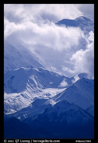 Mt Mc Kinley in the clouds from Wonder Lake area. Denali National Park, Alaska, USA.