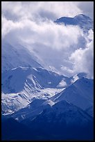 Mt Mc Kinley in the clouds from Wonder Lake area. Denali National Park ( color)