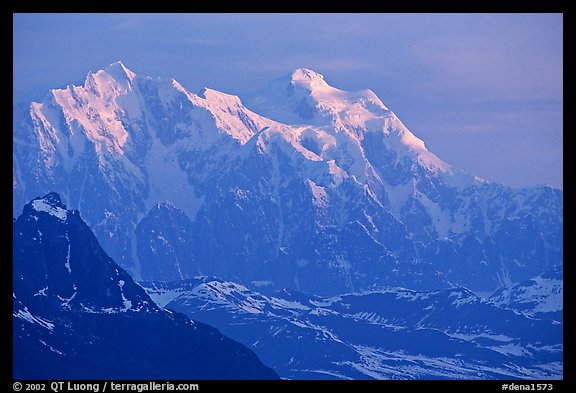 Mt Huntington and Mt Hunter at sunrise. Denali National Park, Alaska, USA.