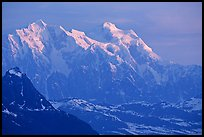 Mt Huntington and Mt Hunter at sunrise. Denali National Park, Alaska, USA. (color)