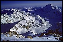 Kahilna peaks and Mt Foraker seen from 16000ft on Mt Mc Kinley. Denali National Park, Alaska, USA.