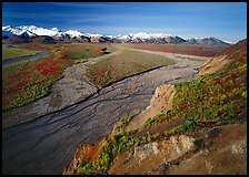 Braided river and Alaska Range from Polychrome Pass. Denali National Park, Alaska, USA.