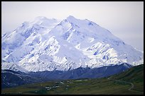 North Face of Mt McKinley above Thorofare Pass. Denali National Park, Alaska, USA. (color)