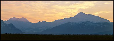 Alaska range and sunset sky. Denali National Park (Panoramic color)