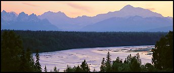 Wide river and Alaska range at sunset. Denali National Park, Alaska, USA.