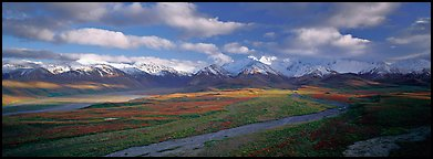 Mountain landscape with clouds. Denali National Park, Alaska, USA.