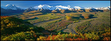 Passing of seasons in Alaska mountains. Denali  National Park (Panoramic color)