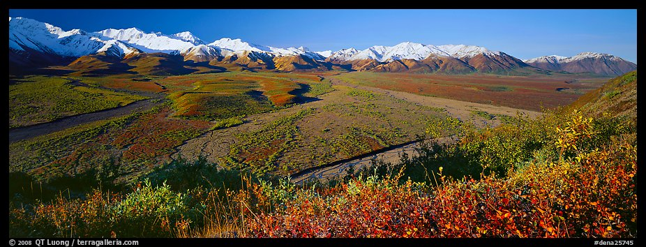 Alaskan mountain landscape with wide river valley. Denali National Park (color)
