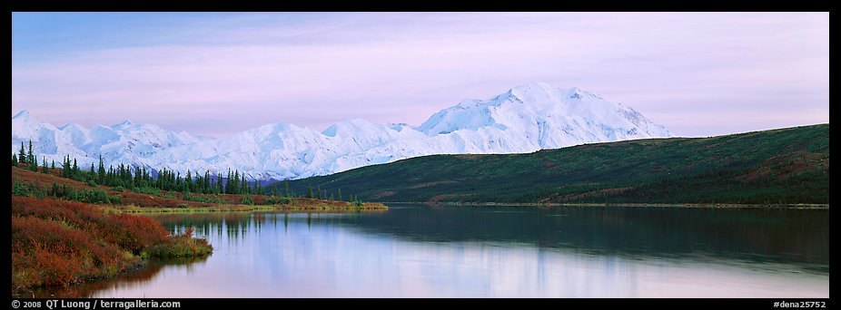 Pastel landscape with Mount McKinley reflected in lake. Denali National Park (color)