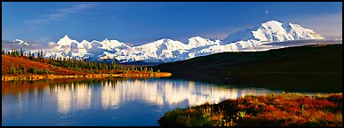 Tranquil autumn evening with Mount McKinley reflections. Denali National Park, Alaska, USA.