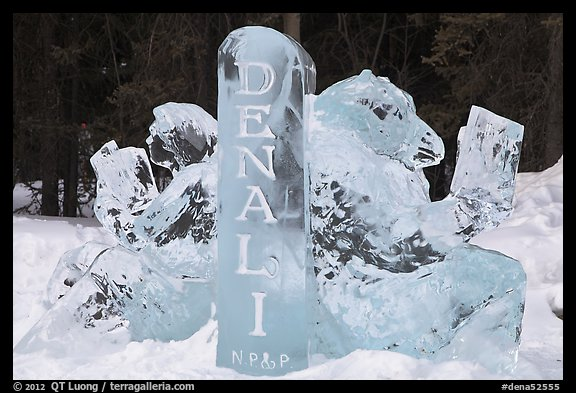 Ice sculpture with woman and bear. Denali National Park (color)