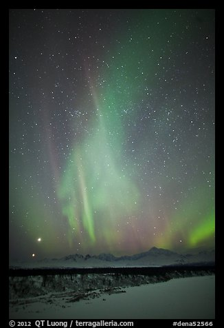 Aurora above Mt McKinley, winter. Denali National Park (color)