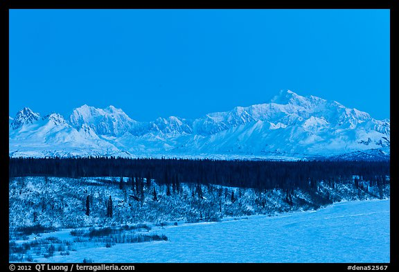 Denali and Mt Hunter at dawn in winter. Denali National Park (color)