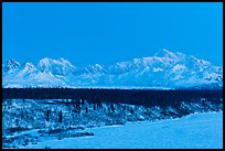 Denali and Mt Hunter at dawn in winter. Denali National Park, Alaska, USA.