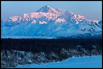 First light on Denali in winter. Denali National Park, Alaska, USA.