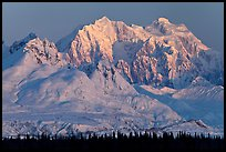 Mt Hunter, winter sunrise. Denali National Park, Alaska, USA. (color)