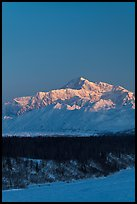 Mt McKinley under clear winter sky at sunrise. Denali National Park, Alaska, USA.