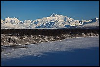 Alaska range in winter, early morning. Denali National Park, Alaska, USA.