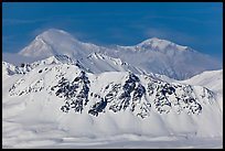 Mt McKinley rises above Alaska range in winter. Denali National Park, Alaska, USA.