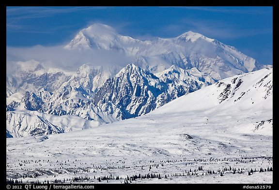 Mt McKinley South and North peaks in winter. Denali National Park (color)
