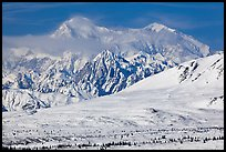 Mt McKinley South and North peaks in winter. Denali National Park, Alaska, USA.