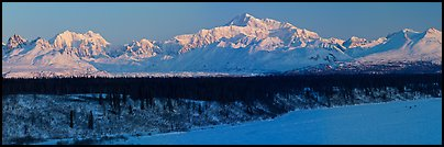 Alaska range panorama in winter. Denali National Park, Alaska, USA.
