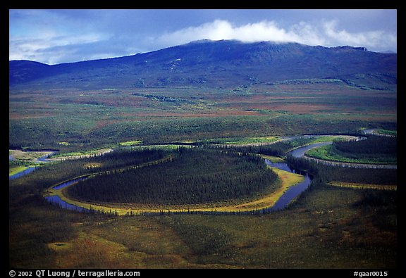 Aerial view of meandering river and mountains. Gates of the Arctic National Park (color)