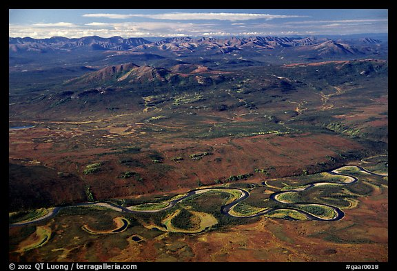 Aerial view of plain with meandering Alatna river and mountains. Gates of the Arctic National Park (color)