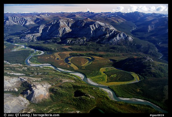 Aerial view of vast landscape of meandering Alatna river and mountains. Gates of the Arctic National Park (color)