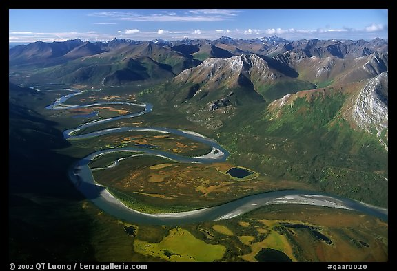 Aerial view of meandering Alatna river in mountain valley. Gates of the Arctic National Park (color)