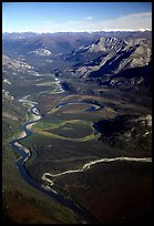 Aerial view of meanders of Alatna river and valley. Gates of the Arctic National Park, Alaska, USA. (color)