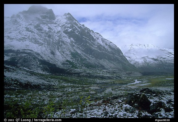 Fresh snow near Arrigetch Peaks. Gates of the Arctic National Park (color)