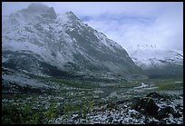 Fresh snow near Arrigetch Peaks. Gates of the Arctic National Park, Alaska, USA.