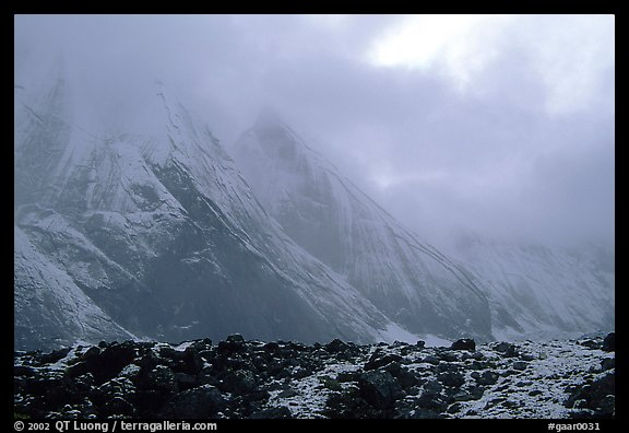 Fresh snow dusts the Arrigetch Peaks. Gates of the Arctic National Park (color)