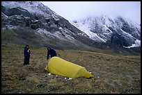 Backpackers camp at the base of the Arrigetch Peaks. Gates of the Arctic National Park, Alaska
