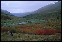 Backpacker in Arrigetch Valley. Gates of the Arctic National Park, Alaska