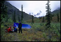 Backpackers camp in Arrigetch Valley. Gates of the Arctic National Park, Alaska