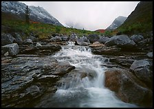 Stream and Arrigetch Peaks. Gates of the Arctic National Park, Alaska, USA.