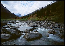 River flowing over boulders, Arrigetch Creek. Gates of the Arctic National Park, Alaska, USA.