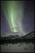 Northern lights over Brooks Range. Gates of the Arctic National Park, Alaska, USA.