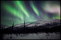 Colorful aurora curtains over Brooks Range. Gates of the Arctic National Park ( color)