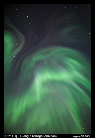 Northern lights and starry sky. Gates of the Arctic National Park (color)