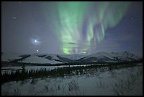 Venus, Jupiter, and Aurora. Gates of the Arctic National Park, Alaska, USA.