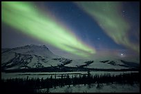 Northern lights over Brooks Range, winter. Gates of the Arctic National Park, Alaska, USA. (color)