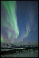 Aurora and Jupiter over Brooks Range. Gates of the Arctic National Park, Alaska, USA.