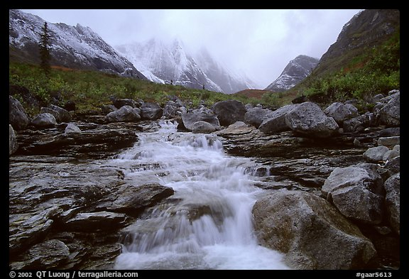 Stream and Arrigetch Peaks. Gates of the Arctic National Park (color)