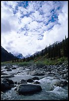 Clouds above Arrigetch Creek. Gates of the Arctic National Park, Alaska, USA. (color)