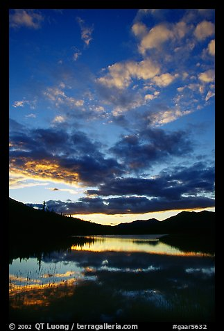 Sky and Alatna River reflections,  sunset. Gates of the Arctic National Park, Alaska, USA.