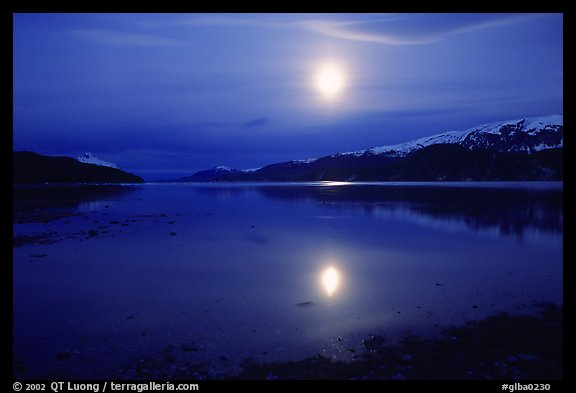 Full moon, 1am, Muir inlet. Glacier Bay National Park (color)