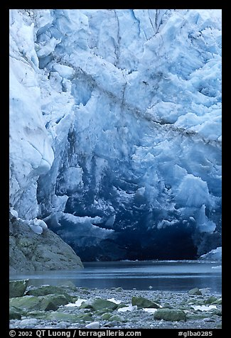 Ice cave at the base of Lamplugh glacier. Glacier Bay National Park (color)